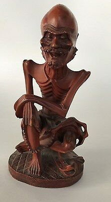 Vintage Hand Carved Wood Skinny Emaciated Buddah Statue Chinese Man Detailed VGC