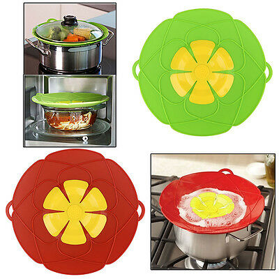 2Colors Kitchen Cooking Silicone Spill Stopper Lid Pan Pot Cover Overflows Boil