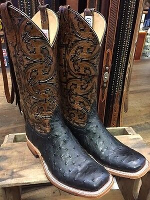 Anderson Bean Men's Black Full Quill Ostrich Square Toe Boots S3003 Made In USA