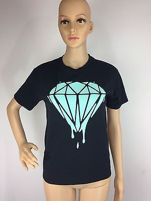 Black Blue Diamond Graphic Tee T Shirt Melt Drip Bling Youth Large Adult Small