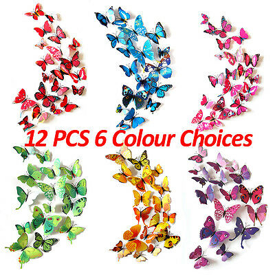 3D Butterfly Stickers Home DIY Wall Art Vinyl Decals Kids Room Decoration UK New