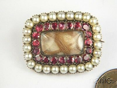 Antique English Late Georgian Gold Garnet & Pearl Hair Locket Mourning Brooch