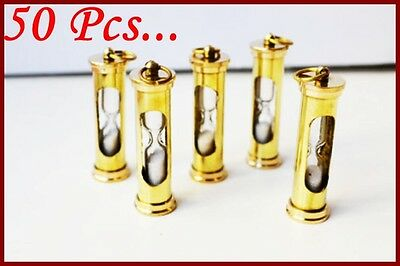Brass Sand Timer Pendant Necklace Key Ring Maritime Nautical Key chain Lot of 50