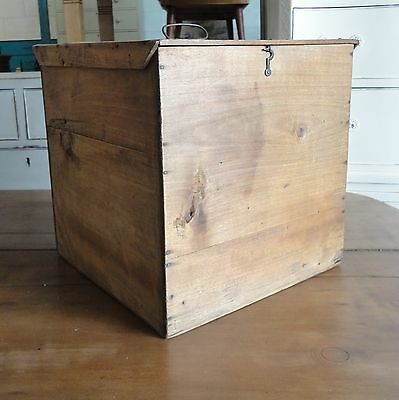 Lovely Old Antique Country Rustic Farmhouse French Pine Hat Box Trunk Chest