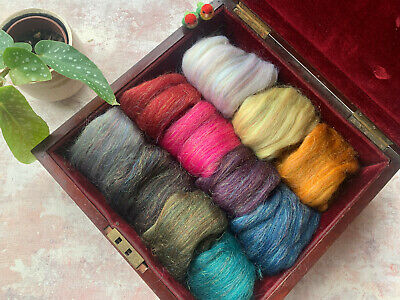 Heidifeathers  'Shimmer Mix' Merino Wool Tops with Sparkle  - Felting + Spinning