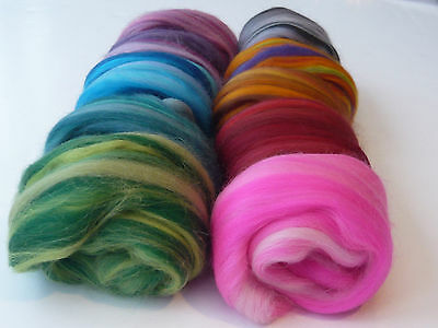 Heidifeathers® 'Harmony Mix' Merino Wool Tops with Sparkle  - Felting, Spinning