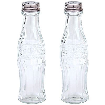 NEW Coca-Cola Glass Salt and Pepper Shakers Contour Bottle Shaped Collectible