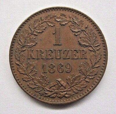 1869 German State Baden 1 Kreuzer.  Very Nice Coin - Great Detail