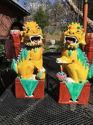 ANTIQUE  19TH CENTURY Huge Chinese Famille Foo Dog lion PAIR