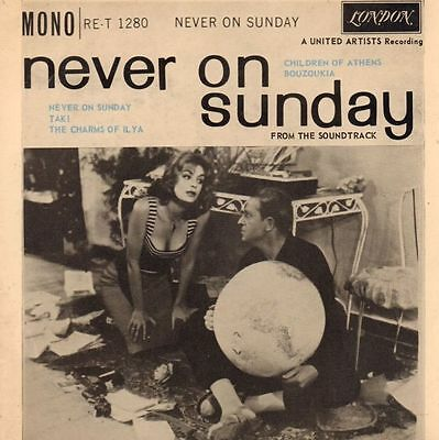 "Melina Mercouri(7"" Vinyl P/S)Never On A Sunday-London-RE-T 1280-UK-1960-VG/VG"