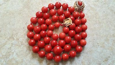 Victorian Great Antique Red Coral Necklace Beads.