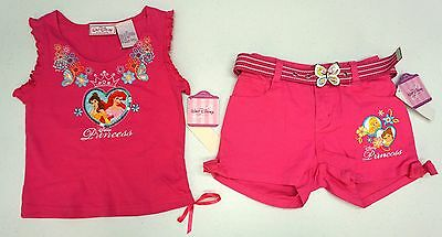 NWT LOT OF 2 ITEMS DISNEY PRINCESS Shirt Shorts Girls Size 6 Pink Tank Top NEW