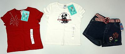 NWT LOT OF 3 ITEMS T Shirt Shorts Girls S 6 6X Red White Blue Denim 4th July NEW
