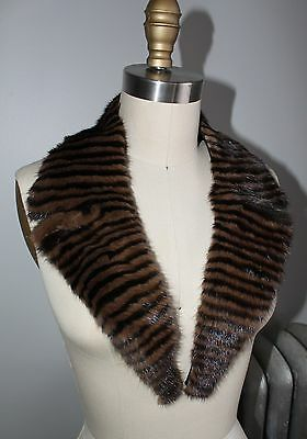Vintage patterned brown and black genuine fur collar with clean finished backing