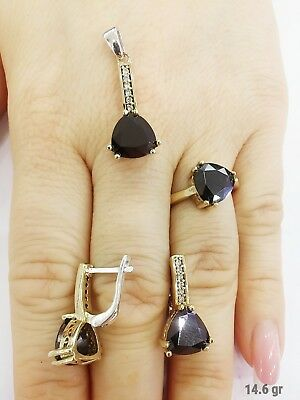 925 Sterling Silver Turkish Handmade Jewelry / Black Onyx Lady Set Ring Size 8.5