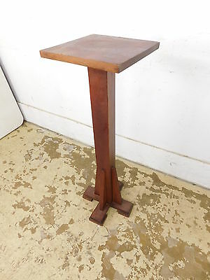Antique Oak Wood Arts & Crafts Mission Style Plant Display Podium Stand