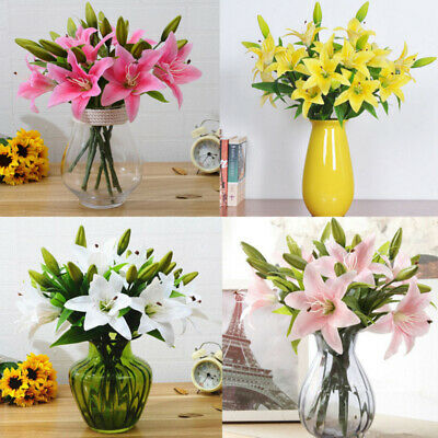 Artificial Fake Lily Silk Flower Bouquet Home Wedding Garden Floral Decor Branch