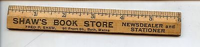 Vintage Wooden Advertising Ruler, Shaw's Book Store, Bath, ME