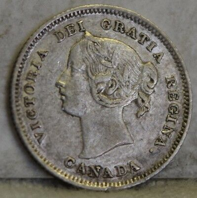 """1901 *Silver* Canadian Five Cents """"XF"""" *Free S/H After 1st Item*"""