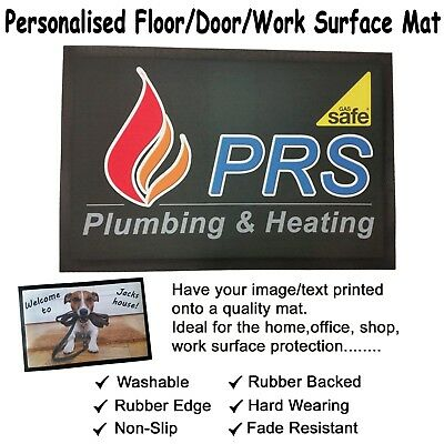 Personalised Door / Floor / Work Surface Mat. Rubber Backed Non Slip. 60x40cm