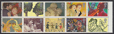 1995 sg 1858a Greetings 'Greetings in Art' (10x 1st) with labels mint MNH