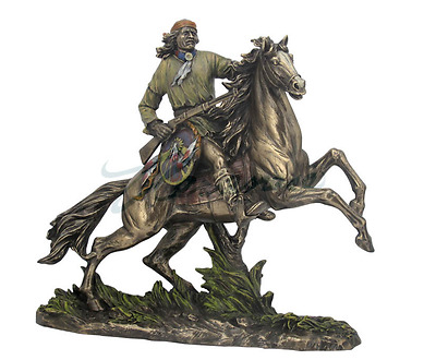 Apache Warrior Sculpture On Horseback With Rifle And Shield Statue Figurine