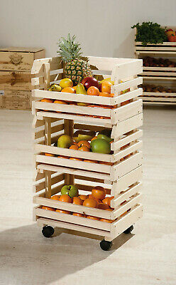 3 Tier Wooden Kitchen Vegetable Fruit Storage Food Rack Portable Organiser