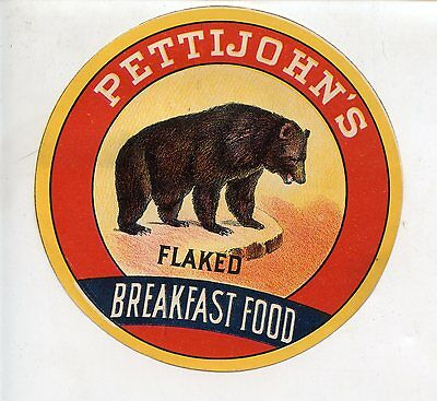 Early Pettijohn's Flaked Breakfast Food Label, Bear Logo