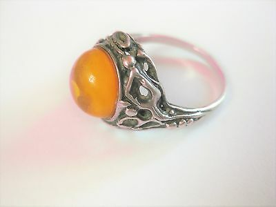 Antique Ring Real silver with Amber, 0.1oz