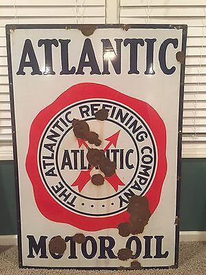 "Original Vintage Atlantic Refining Company Motor Oil Porcelain Sign 52"" x 36"""