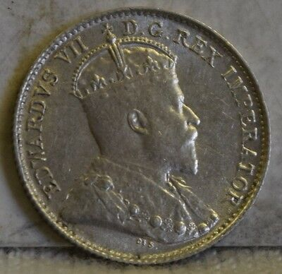 """1907 *Silver* Canadian 5 Cents """"UNC"""" *Free S/H After 1st Item*"""