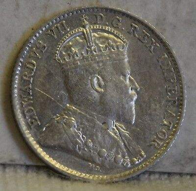 """1910 *Silver* Canadian 5 Cents """"AU+"""" *Free S/H After 1st Item*"""
