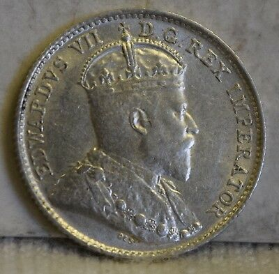 """1902 *Silver* Canadian 5 Cents """"AU+"""" *Free S/H After 1st Item*"""