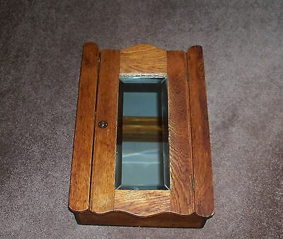 Antique Oak Wall Mounted Medicine/Shaving Cabinet w/Beveled Mirror