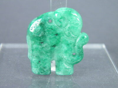 Fine Old Chinese Carved Jade Jadeite Elephant Pendant Carving Scholar Work Art