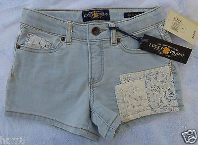 Lucky Brand Riley Shorts Girls  Size 7 Lace Design Denim Shorts Brand New w Tags