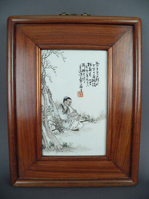 Fine Old Chinese 19th Signed Republic Porcelain Plaque Grisaille Famille Rose