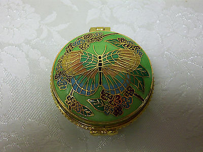 Butterfly Vintage Green & Blue Enameled Cloisonne Spice Lidded Box
