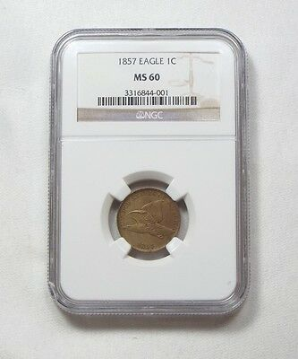 1857 Flying Eagle Small Cent CERTIFIED NGC MS 60 1c