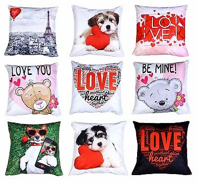 "Luxury Cute Velvet Cushion Covers Love Heart Animal Digital 3D Printed 18"" x 18"""