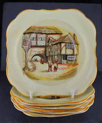 Nostalgic LANCASTER & SONS pottery JOLLY DROVER pattern SET of 6 CEREAL BOWLS