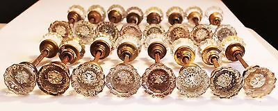 Antique Vintage Glass Doorknobs Old 12 Point Hardware 16 Sets Victorian Knobs