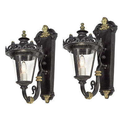 Vintage Porch Lights Matching Pair of Edwardian Outdoor Wall Sconces (ANT-771)