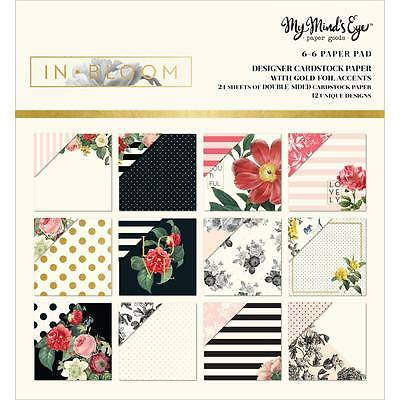 Scrapbooking Crafts Mind's Eye In Bloom 6X6 Paper Pad Roses Black Gold Dots Pink