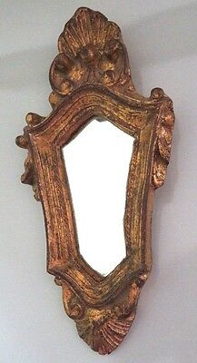 """Vtg Regency 8"""" Small Florentia Mirror,carved Wood Shell,gold Gilt Toleware Italy"""