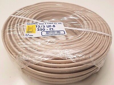 250' 12/3 AWG w Ground Copper UF-B Cable, Outdoor Underground Direct Burial Wire