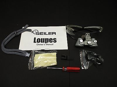 Seiler 2.5x Long Silver 250 LSG Dental Medical Surgical Loupes w/ Accessories