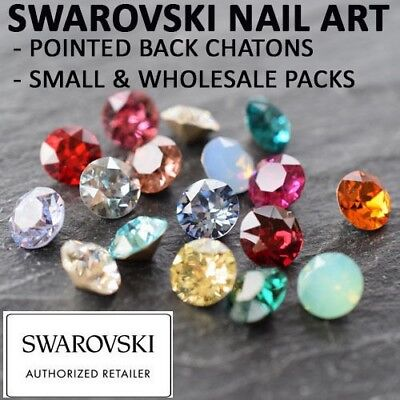 Genuine Swarovski Pointed Back Crystals Gems NAIL ART 1.6mm Many Colours