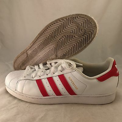 Adidas Superstar - B27139 - White Red - Men's Size 10 - Great