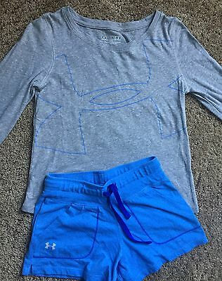 Girls Under Armour 2 pc Outfit Long Sleeve Shirt And Shorts Grey & Blue YMD Med